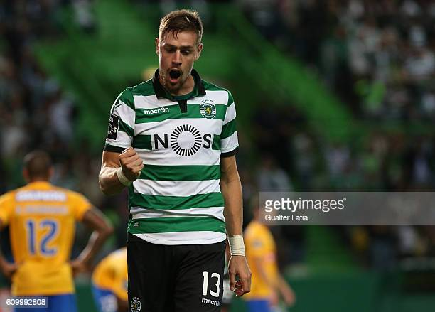 Sporting CP's defender Sebastian Coates from Uruguay celebrates after scoring a goal during the Primeira Liga match between Sporting CP and Estoril...