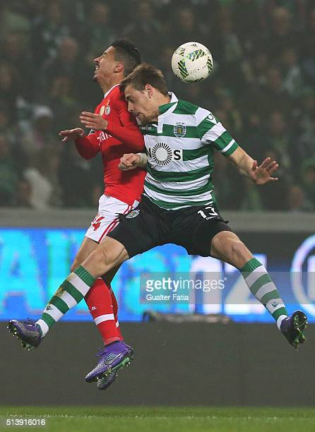 Sporting CP's defender Sebastian Coates from Uruguay with SL Benfica's defender Andre Almeida in action during the Primeira Liga match between...