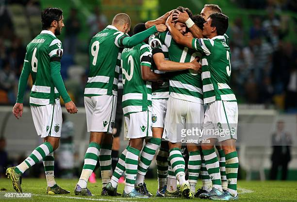 Sporting CP's defender Tobias Figueiredo celebrates with teammates after scoring a goal during the UEFA Europa League match between Sporting CP and...