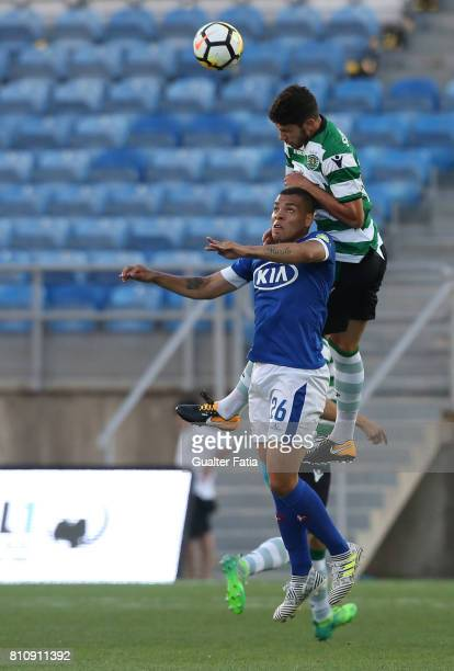 Sporting CPÕs defender Tobias Figueiredo from Portugal with Belenenses's forward Maurides from Brazil in action during the PreSeason Friendly match...