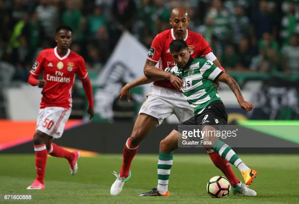 Sporting CP's forward Alan Ruiz from Argentina with SL Benfica's defender from Brazil Luisao in action during the Primeira Liga match between...