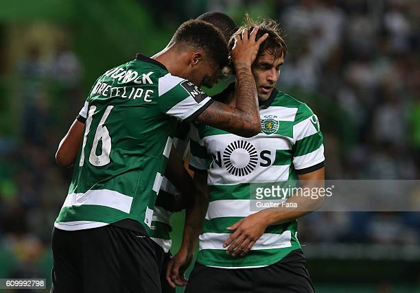 Sporting CP's forward Andre Souza from Brazil celebrates with teammates Sporting CP's forward Lazar Markovic from Serbia and Sporting CP's midfielder...
