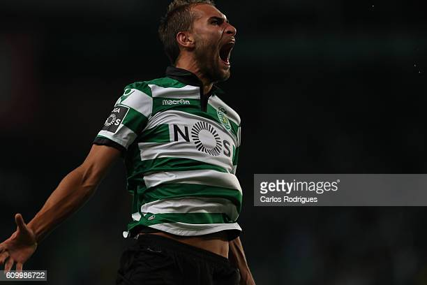 Sporting CP's forward Bas Dost from Holand celebrates scoring Sporting's third goal during the Primeira Liga match between Sporting CP and Estoril...