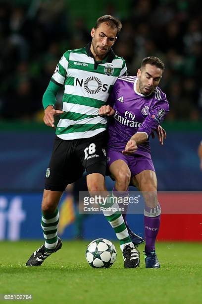 Sporting CPÕs forward Bas Dost from Holand vies with Real MadridÕs defender Dani Carvajal from Spain during the Sporting Clube de Portugal v Real...