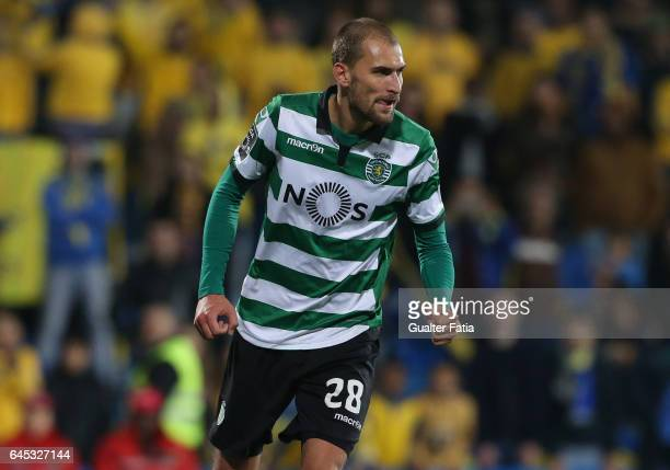 Sporting CP's forward Bas Dost from Holland celebrates after scoring a goal during the Primeira Liga match between GD Estoril Praia and Sporting CP...