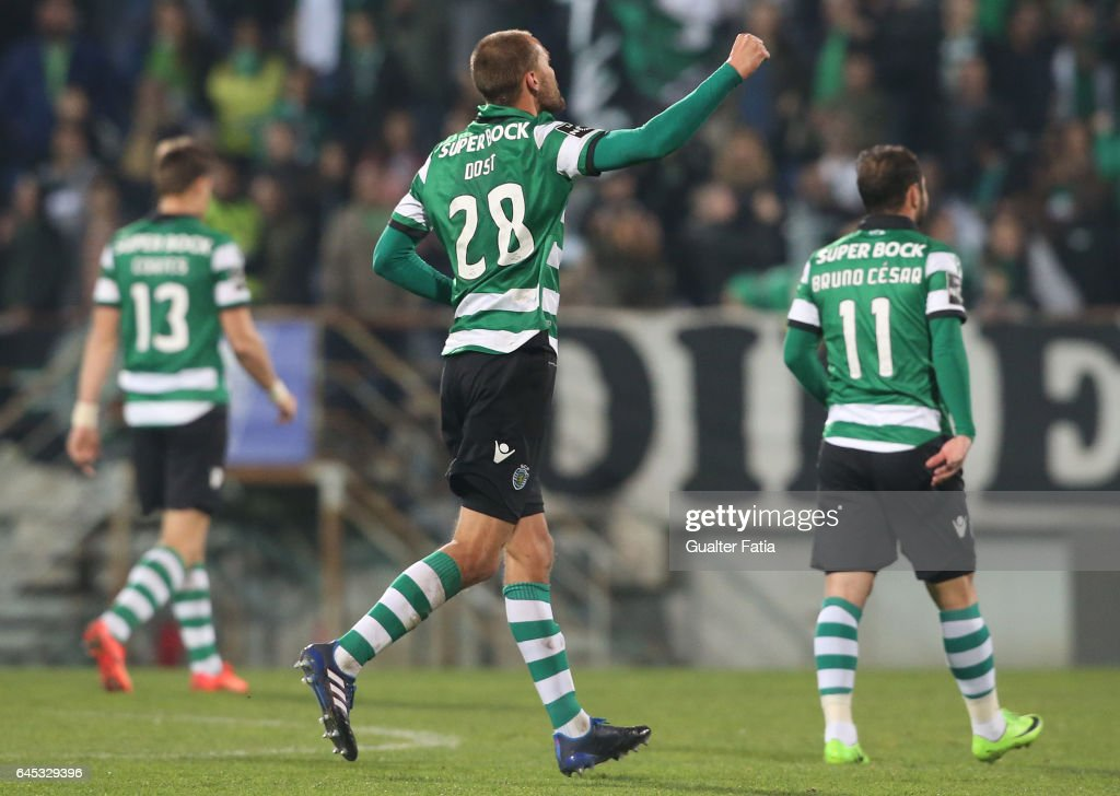 Sporting CP's forward Bas Dost from Holland celebrates after scoring a goal during the Primeira Liga match between GD Estoril Praia and Sporting CP at Estadio Antonio Coimbra da Mota on February 25, 2017 in Estoril, Portugal.