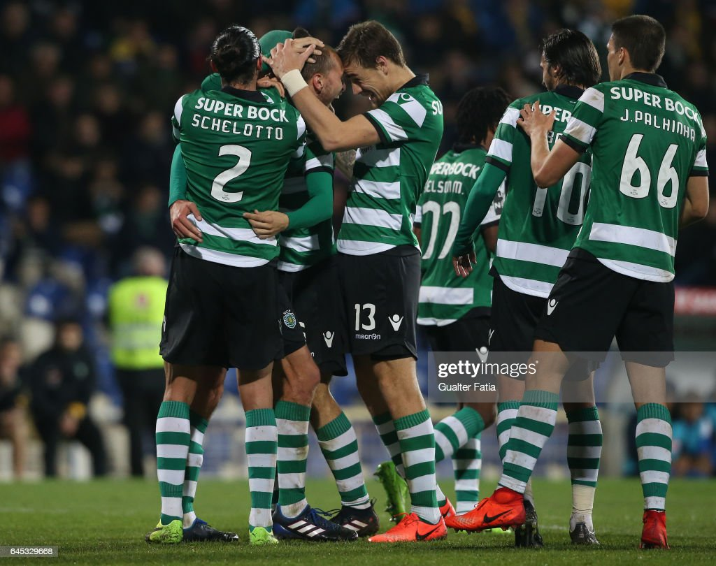 Sporting CP's forward Bas Dost from Holland celebrates with teammates after scoring a goal during the Primeira Liga match between GD Estoril Praia and Sporting CP at Estadio Antonio Coimbra da Mota on February 25, 2017 in Estoril, Portugal.
