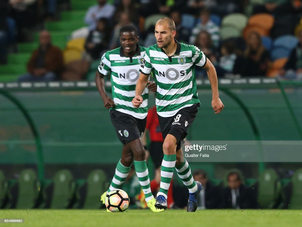 Sporting CP's forward Bas Dost from Holland in action during the Primeira Liga match between Sporting CP and CD Nacional at Estadio Jose Alvalade on March 18, 2017 in Lisbon, Portugal.