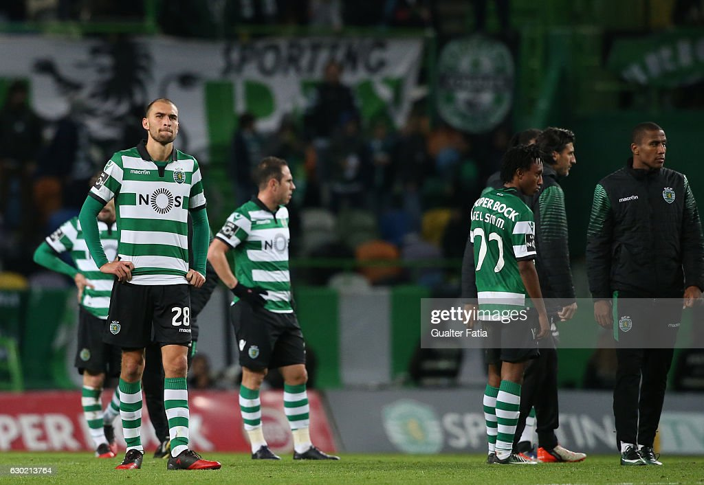 Sporting CP's forward Bas Dost from Holland reaction at the end of the Primeira Liga match between Sporting CP and SC Braga at Estadio Jose Alvalade on December 18, 2016 in Lisbon, Portugal.