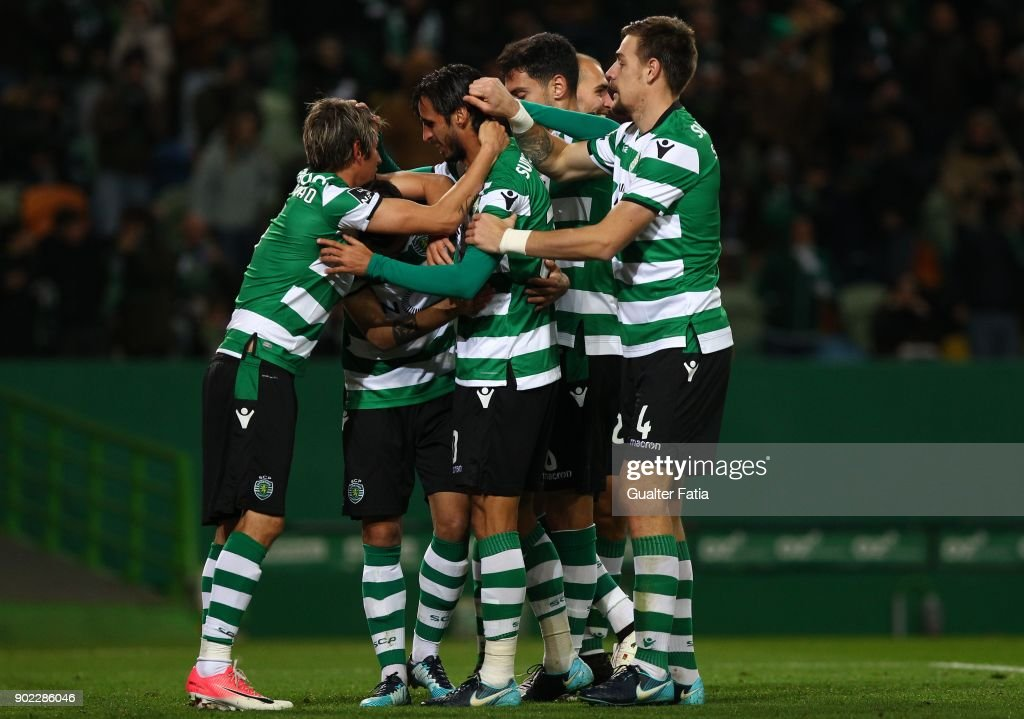 Sporting CPÕs forward Bryan Ruiz from Costa Rica celebrates with teammates after scoring a goal during the Primeira Liga match between Sporting CP and CS Maritimo at Estadio Jose Alvalade on January 7, 2018 in Lisbon, Portugal.