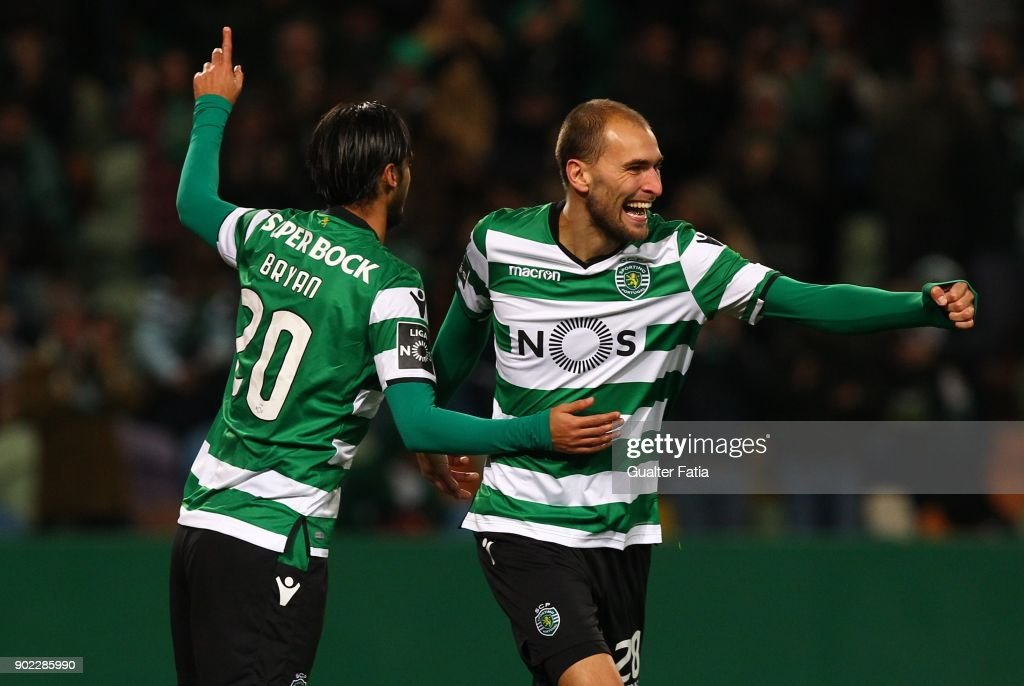 Sporting CPÕs forward Bryan Ruiz from Costa Rica celebrates with teammate Sporting CP forward Bas Dost from Holland after scoring a goal during the Primeira Liga match between Sporting CP and CS Maritimo at Estadio Jose Alvalade on January 7, 2018 in Lisbon, Portugal.