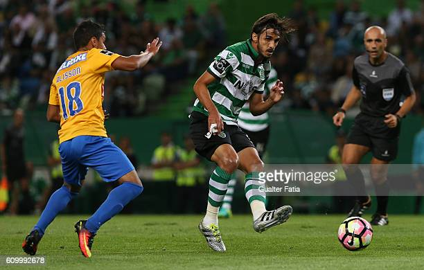 Sporting CP's forward Bryan Ruiz from Costa Rica with Estoril's forward Alisson Farias from Brazil in action during the Primeira Liga match between...
