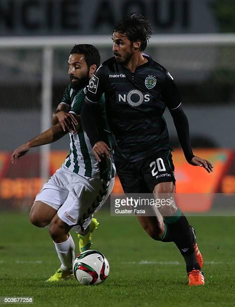 Sporting CPÕs forward Bryan Ruiz with Vitoria SetubalÕs forward Costinha in action during the Primeira Liga match between Vitoria Setubal and...