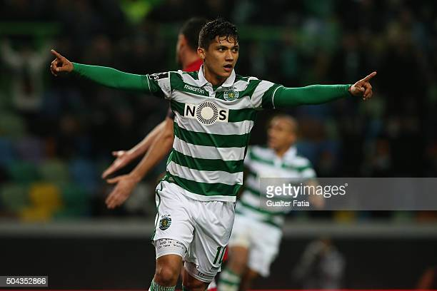 Sporting CP's forward Fredy Montero celebrates after scoring a goal during the Primeira Liga match between Sporting CP and SC Braga at Estadio Jose...