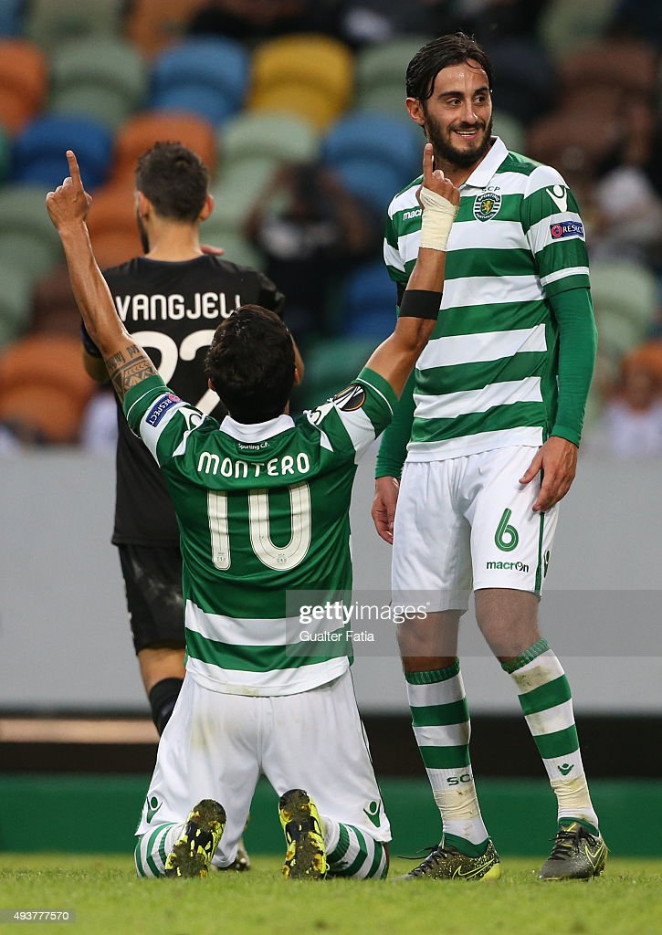 Sporting CP's forward Fredy Montero celebrates with teammate Alberto Aquilani after scoring a goal during the UEFA Europa League match between Sporting CP and KF Skenderbeu at Estadio Jose de Alvalade on October 22, 2015 in Lisbon, Portugal.
