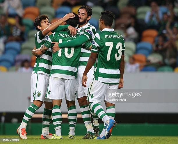 Sporting CP's forward Fredy Montero celebrates with teammates after scoring a goal during the UEFA Europa League match between Sporting CP and KF...