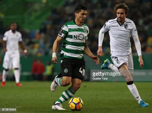 Sporting CP's forward Fredy Montero from Colombia with Vitoria Guimaraes midfielder Rafael Miranda from Brazil in action during the Primeira Liga...