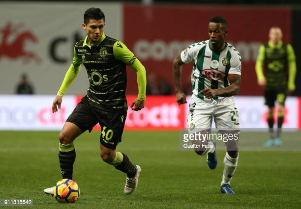 Sporting CP's forward Fredy Montero from Colombia with Vitoria Setubal defender Jose Semedo from Portugal in action during the Portuguese League Cup...