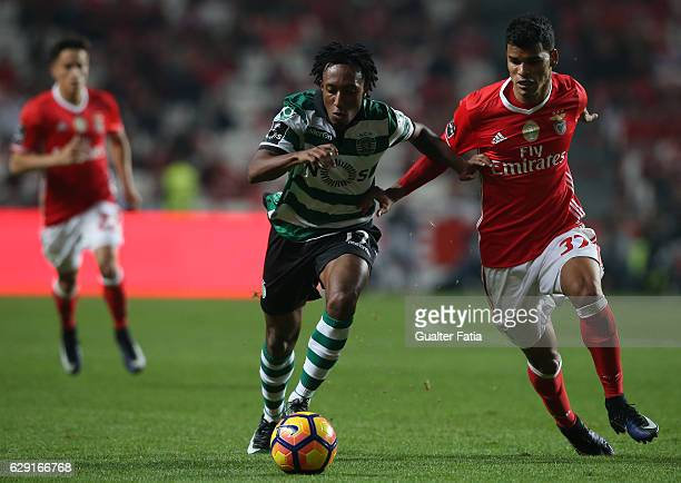 Sporting CP's forward Gelson Martins with SL Benfica's midfielder from Brazil Danilo Barbosa in action during the Primeira Liga match between SL...