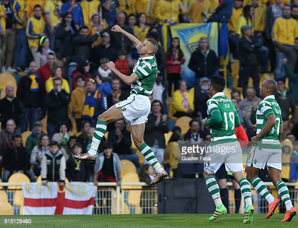 Sporting CP's forward Islam Slimani from Algeria celebrates after scoring a goal during the Primeira Liga match between GD Estoril Praia and Sporting...