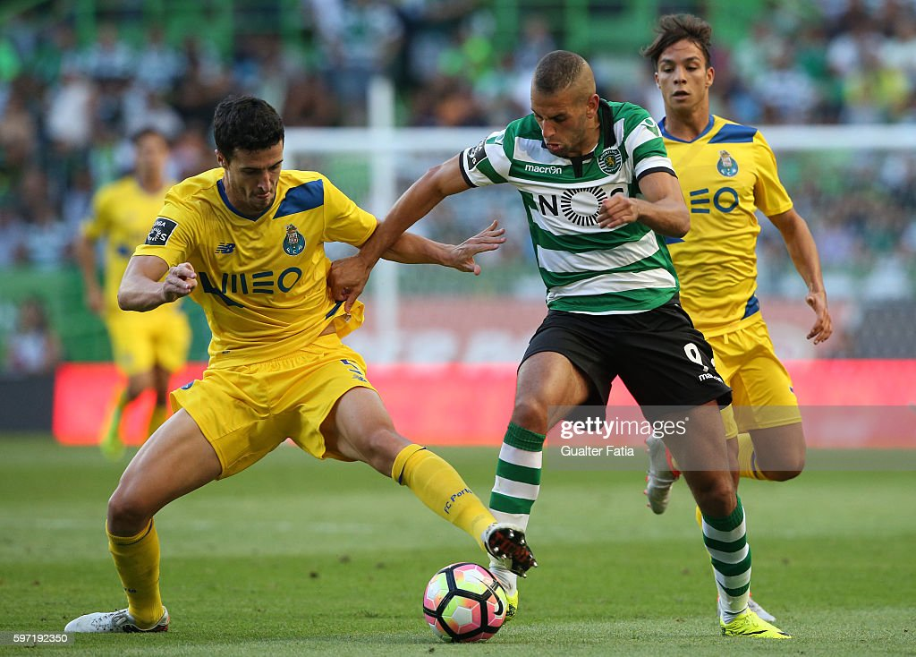 Sporting CP's forward Islam Slimani from Algeria with FC Porto's defender from Spain Ivan Marcano in action during the Primeira Liga match between Sporting CP and FC Porto at Estadio Jose Alvalade on August 28, 2016 in Lisbon, Portugal.