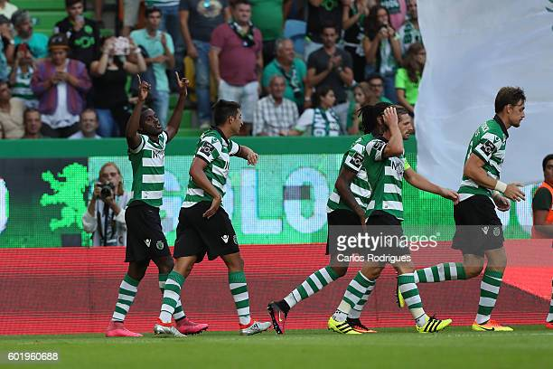 Sporting CP's forward Joel Campbell from Costa Rica celebrates scoring Sporting«s second goal during the Portuguese Primeira Liga between Sporting CP...