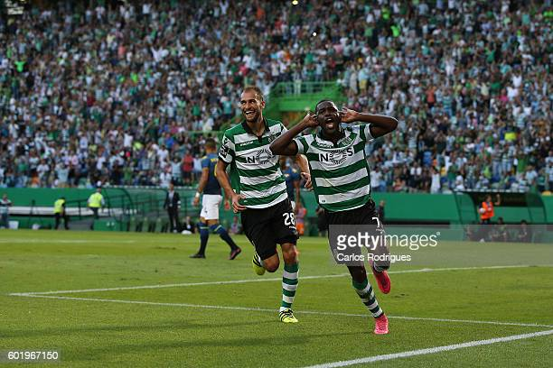 Sporting CP's forward Joel Campbell from Costa Rica celebrates scoring Sporting«s second goal with Sporting CP's forward Bas Dost from Holand during...