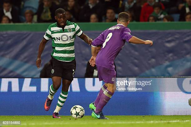 Sporting CP's forward Joel Campbell from Costa Rica tries to pass trough Real Madrid's defender Dani Carvajal from Spain during the Sporting Clube de...