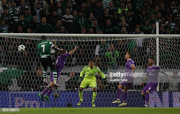 Sporting CP's forward Joel Campbell from Costa Rica with Real Madrid's defender Dani Carvajal from Spain in action during the UEFA Champions League...