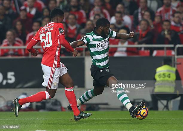 Sporting CP's forward Joel Campbell from Costa Rica with SL Benfica's defender Nelson Semedo in action during the Primeira Liga match between SL...