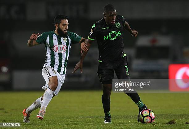 Sporting CP's forward Joel Campbell from Costa Rica with Vitoria de Setubal's forward Joao Costinha in action during Portuguese League Cup match...