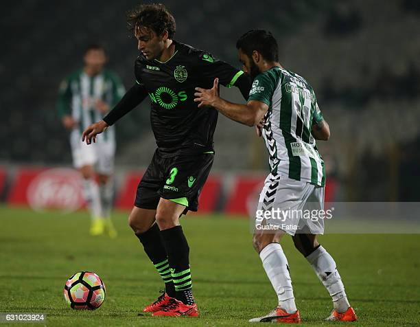 Sporting CP's forward Lazar Markovic from Serbia with Vitoria de Setubal's forward Joao Costinha in action during Portuguese League Cup match between...