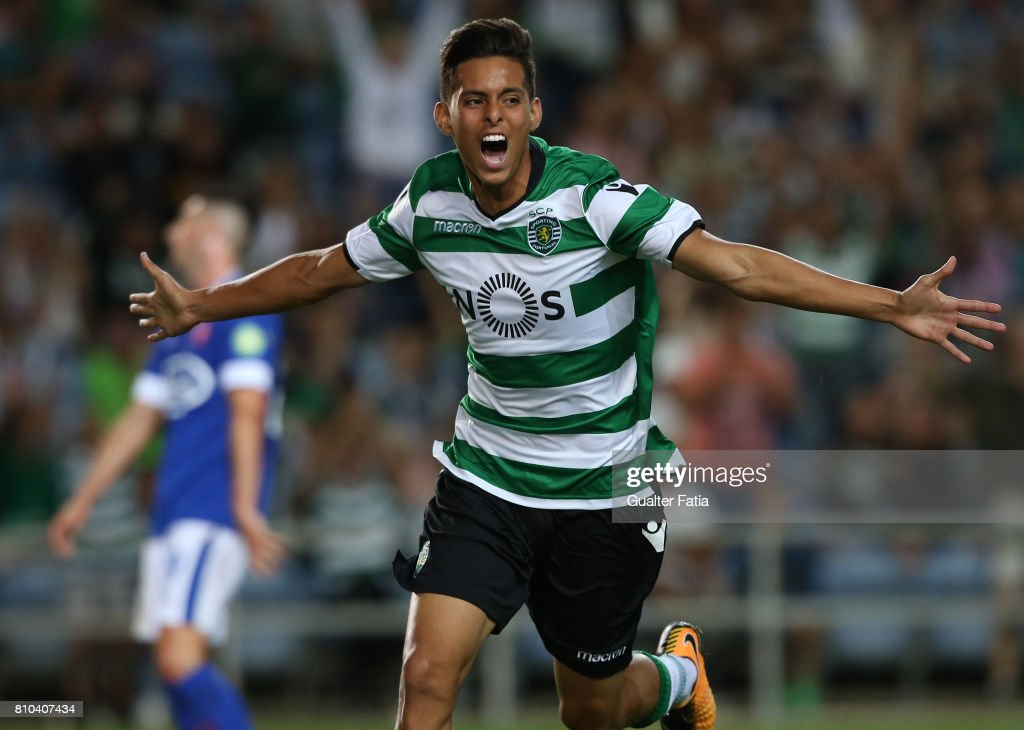 Sporting CP's forward Leonardo Ruiz from Paraguay celebrates after scoring a goal during Pre-Season Friendly match between Sporting CP and CF Os Belenenses at Estadio Algarve on July 7, 2017 in Faro, Portugal.