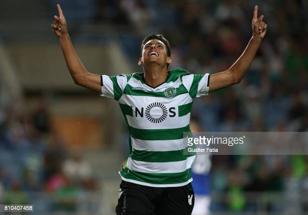 Sporting CP's forward Leonardo Ruiz from Paraguay celebrates after scoring a goal during PreSeason Friendly match between Sporting CP and CF Os...