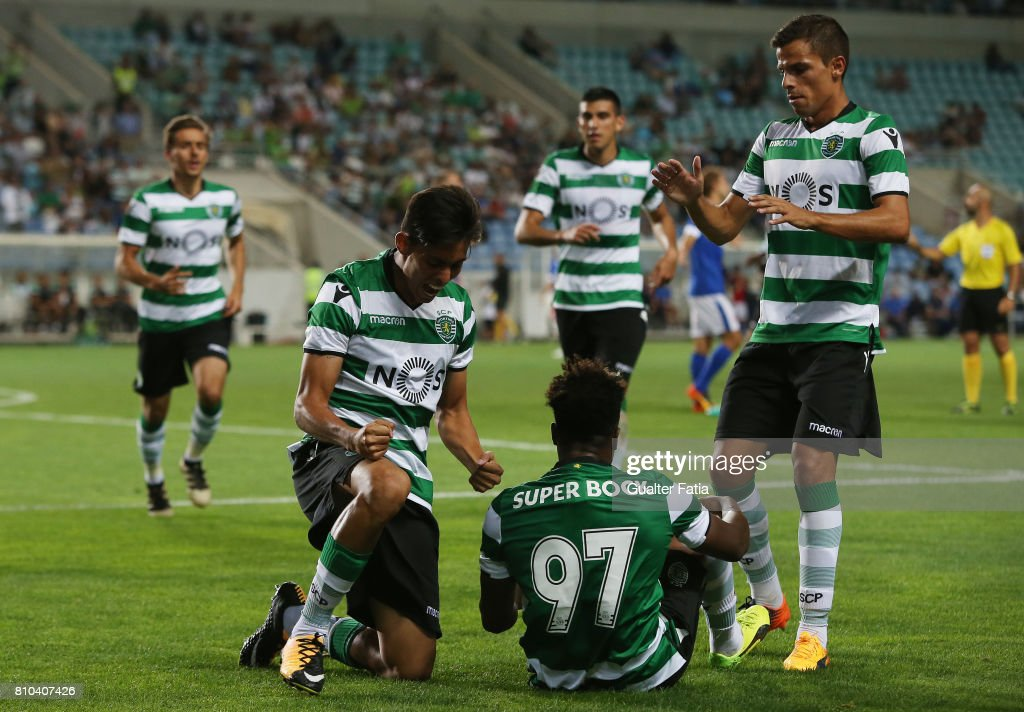 Sporting CP's forward Leonardo Ruiz from Paraguay celebrates with teammates after scoring a goal during Pre-Season Friendly match between Sporting CP and CF Os Belenenses at Estadio Algarve on July 7, 2017 in Faro, Portugal.