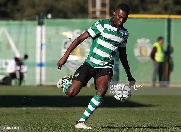 Sporting CPÕs forward Rafael Leao in action during the UEFA Youth Champions League match between Sporting Clube de Portugal and Real Madrid CF at...