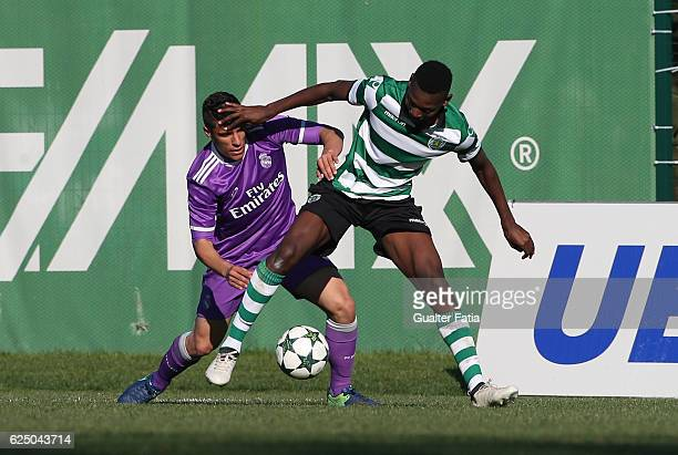 Sporting CP's forward Rafael Leao with Real Madrid's defender Gorka Zabarte in action during the UEFA Youth Champions League match between Sporting...
