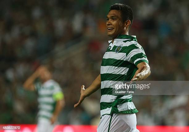 Sporting CP's forward Tefilo Gutirrez in action during the Portuguese Super Cup match between SL Benfica and Sporting CP at Estadio Algarve on August...