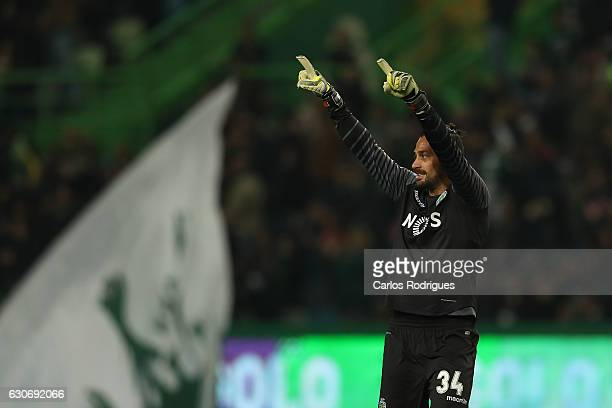 Sporting CP's goalkeeper Beto from Portugal celebrates Sporting goal scored by Sporting CP's forward Gelson Martins from Portugal during the Sporting...