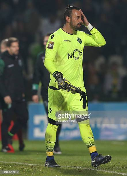 Sporting CP's goalkeeper Beto reaction at the end of the Portuguese League Cup match between Vitoria Setubal and Sporting CP at Estadio do Bonfim on...