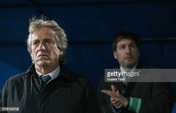 Sporting CP's head coach Jorge Jesus with Sporting CP's president Bruno de Carvalho before the start of the Primeira Liga match between Os Belenenses...