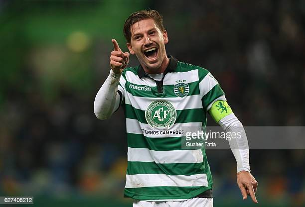 Sporting CP's midfielder Adrien Silva celebrates after Sporting CP's midfielder Bruno Cesar from Brazil scored a goal during the Primeira Liga match...