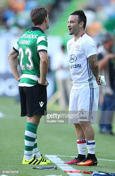 Sporting CP's midfielder Adrien Silva talkes to LyonÕs midfielder Mathieu Valbuena before the start of the Pre Season Friendly match between Sporting...