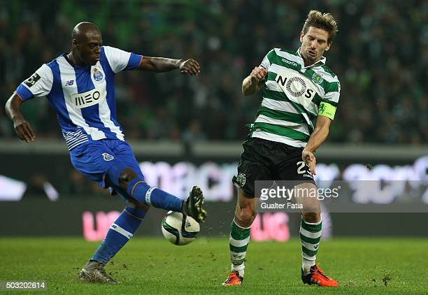 Sporting CP's midfielder Adrien Silva with FC Porto's defender Bruno Martins Indi in action during the Primeira Liga match between Sporting CP and FC...