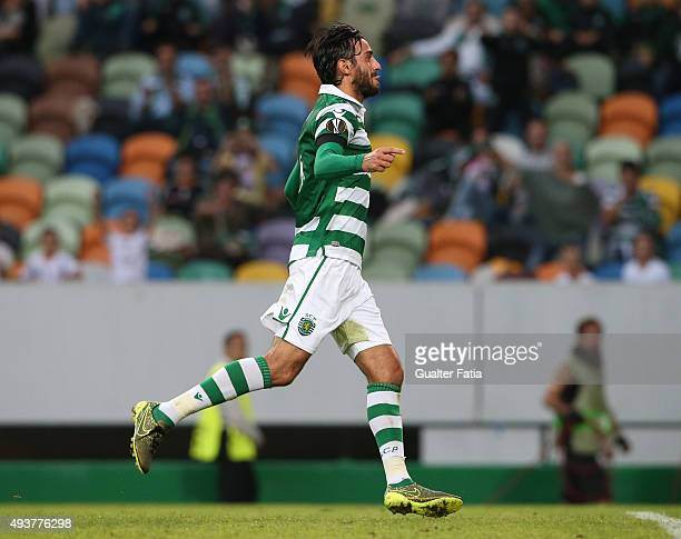 Sporting CP's midfielder Alberto Aquilani celebrates after scoring a goal during the UEFA Europa League match between Sporting CP and KF Skenderbeu...