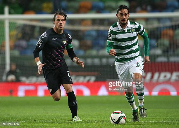 Sporting CP's midfielder Alberto Aquilani with Moreirense FC's midfielder Vitor Gomes in action during the Primeira Liga match between Sporting CP...
