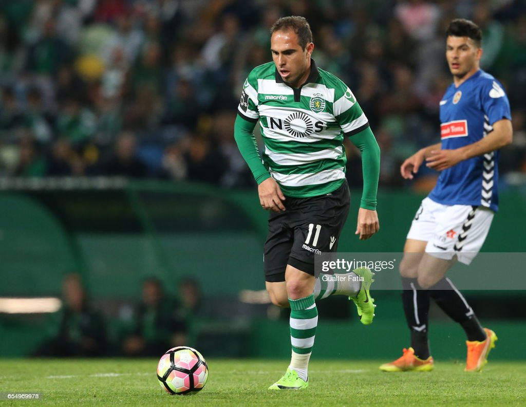 Sporting CP's midfielder Bruno Cesar from Brazil in action during the Primeira Liga match between Sporting CP and CD Nacional at Estadio Jose Alvalade on March 18, 2017 in Lisbon, Portugal.