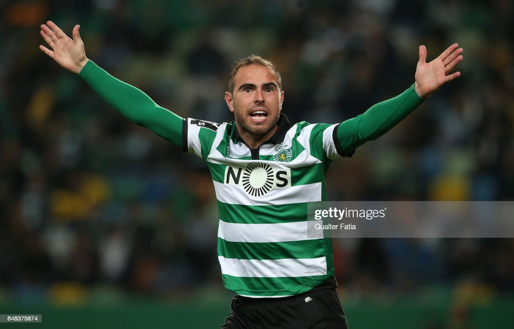 Sporting CPÕs midfielder Bruno Cesar from Brazil reaction after referee's decision during the Primeira Liga match between Sporting CP and Vitoria Guimaraes at Estadio Jose Alvalade on March 5, 2017 in Lisbon, Portugal.