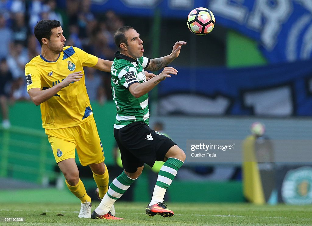 Sporting CP's midfielder Bruno Cesar from Brazil with FC Porto's defender from Spain Ivan Marcano in action during the Primeira Liga match between Sporting CP and FC Porto at Estadio Jose Alvalade on August 28, 2016 in Lisbon, Portugal.