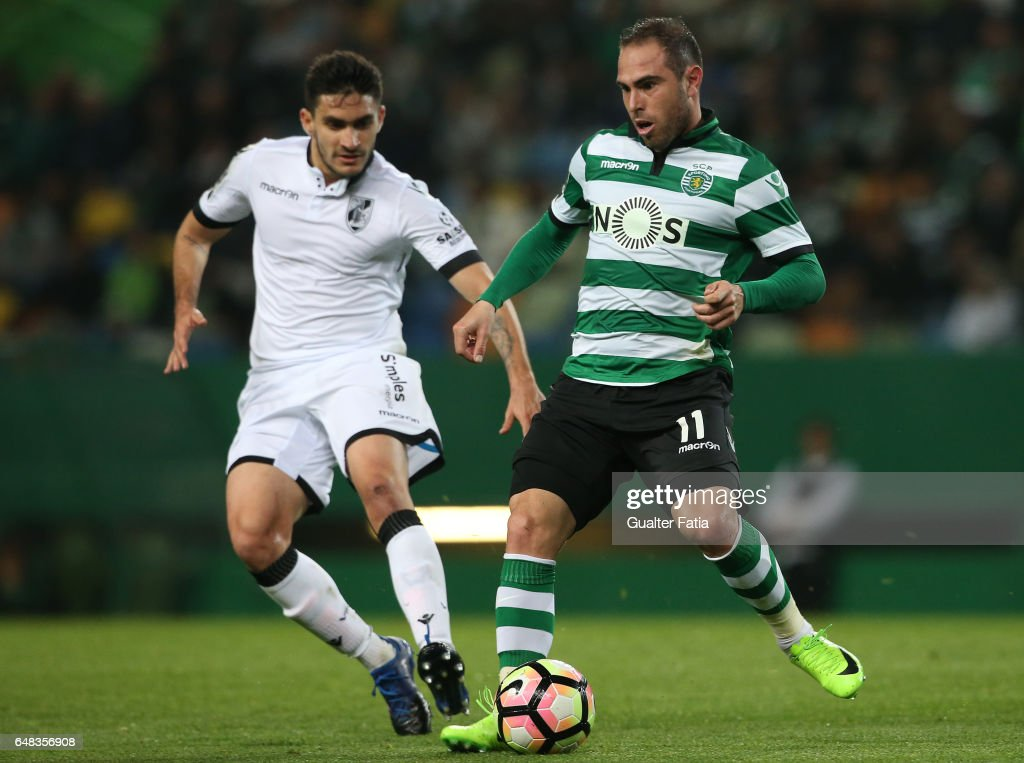 Sporting CPÕs midfielder Bruno Cesar from Brazil with Vitoria GuimaraesÕ midfielder Guillermo Celis in action during the Primeira Liga match between Sporting CP and Vitoria Guimaraes at Estadio Jose Alvalade on March 5, 2017 in Lisbon, Portugal.